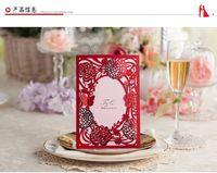Wholesale Red Elegant Wedding Invitations Laser cut Wedding Card Invitation with Envelope Convites Para Casamento