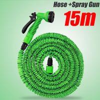 flexible hose - New Functional m Garden Water Hose Spray Gun Car Wash Pipe Valve Expandable Flexible US Or UK Connector ft Blue Green