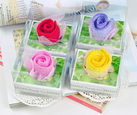 Wholesale mini Cotton Rose Creative Towels Cotton Towel Gift Towel Wedding Decor favors Souvenir Fashion Present Romatic Valentine s day gifts