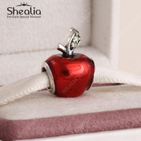 Wholesale Snow White Red Apple Charm Beads Fit Pandora Bracelets Authentic Sterling Silver Enamel Christmas Apple Charm For Women Bracelets DIY