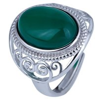 Wholesale 100 S925 silver womens fashion Natural jade ring Can be adjusted size Charms Rings Gemstone Rings