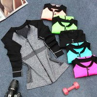 wholesale sports jackets - Free DHL Lightweight Dry Fit Sport Jacket Fitness Long Sleeve Zip Up Coat Silm Outerwear With Thumbholes For Women Running Casual Yuga