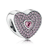 heart charm - New Antique Sterling Silver Heart with Pink CZ Charm Loose Bead Fits European Charm Bracelets Women Jewelry CE487