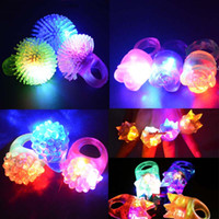 Wholesale Fun Cute Flashing Light LED Smile Rose Rings Blinking Party Soft Light Up Glow Jelly Finger Rings Event Supplies Decor