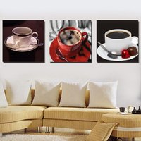 Cheap 3 Piece Hot Sell Modern Wall Painting Still Life Home Decorative Art Picture Paint On Canvas Prints Coffee Cup kitchen
