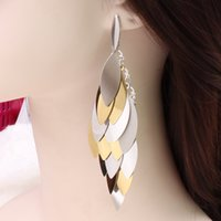 american sheet metal - Factory C237 European and American foreign trade exaggeration sheet metal multilayer large earrings Korean pop geometric earrings