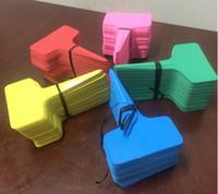 100 шт / много 6 x10cm завод пластмассовых Т-типа Тэги Маркеры Детский сад Этикетки Грей