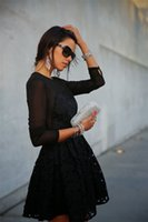 Cheap 2015 New Arrivals Street Style Dress Women's Spring Clothing Sexy Lace Dress Black Embroidery Long-sleeve A-line Dress Drop shipping