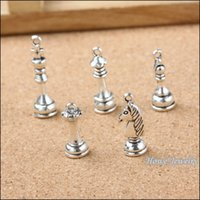antique chess - 120 Vintage Charms International chess Pendant Antique silver Fit Bracelets Necklace DIY Metal Jewelry Making metal love charm