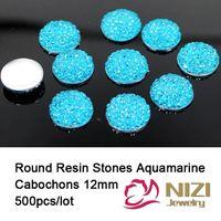 aquamarine cabochons - Resin Beads mm Aquamarine Resin Rhinestone Flatback Round Shape Kawaii Cabochons Sparkly Resin Stones For Garment