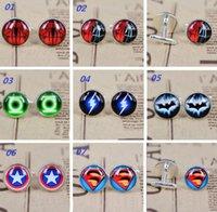 Wholesale European and American style Avengers Superman Batman Captain America Spiderman cufflinks men s time gemstone cufflinks men s jewelry