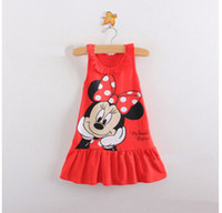 Cheap 2015 baby girls minnie clothes children kids girls clothes cute mickey mouse minnie dress baby girls sleeveless dresses for kids