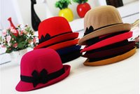 Wholesale 2014 fall autumn and winter hot sale men and lady hats and women and lady hats and caps bowknot wool felt wollenhat female colors rl001