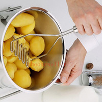 Wholesale Kitchen Gadgets Stainless Potato Masher Mould Egg Vegetable Fruit Crusher Kitchen Tool Silver Color DHL