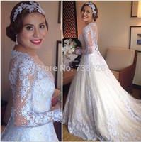 beautiful shirt designs - New Design Full Sleeve A Line Wedding Dresses Transparent Romantic Appliques Princess Bridal Gowns Beautiful High Quality Bow Fantastic
