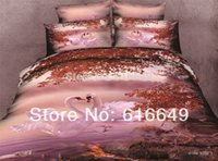 Cheap 2014 new 3d oil Animal cotton 3d bedding set bedclothes White Swan 4pc bed set king queen size bed sheet Comforter bedspread