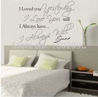 Wholesale 2015 new Loved you yesterday english wall sticker for kids bedroom living room on the wall decoration removable