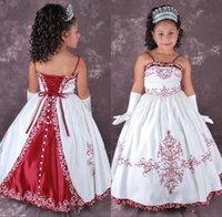 Cheap BM Vintage Ball Gowns Children Formal Dress For Girls Spaghetti Straps Embrodiery Lace Up Floor Length White And Red Flower Girl Dress 2015