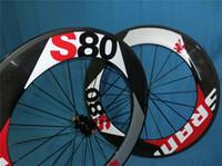 sram red - black red Sram S80 paint mm Clincher Carbon wheels full carbon Clincher C road bike wheelset ceramic bearing hubs wheels