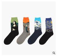 Wholesale 1lot pairs Van Gogh painting abstract retro artistic Mona Lisa socks Christmas socks for men and women in tube socks