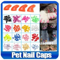 Wholesale New Soft Cat Pet Nail Caps Claw Control Paws off Adhesive Glue Size XS S M L Colors Available