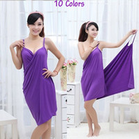 Wholesale New Style Women Magic Bath Towel CM Lady Homewear Sleepwear Women s Summer Beach Strap Dress Solid Colors Cover ups