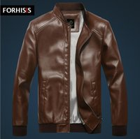 Wholesale Fall New Brand Fashion Classic Men s PU Leather Jacket Winter Men Trench Coat Colors Sizes Red Faux Leather Jackets S244