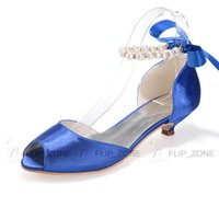 Wholesale Open Peep Toe Dress Shoes with Low Heels Pearls Women s Sandals Bridal Bridesmaid Wedding Party Prom Shoes Royal Blue Ivory Under Cheap