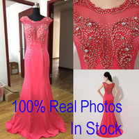 Wholesale In Stock Watermelon Formal Evening Prom Dresses Occasion Crystal Mermaid Real Image Beads Sheer Neck Mother of Bride Celebrity Gowns