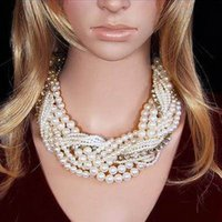 Wholesale Fashion necklaces for women jewellery luxury multiple layer string twist Twist Faux Choker Statement pearl necklace