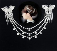 Wholesale Flower bridal headdress Latin tassel belly dance headdress Korean crystal wedding hair accessories