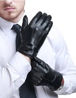 Wholesale Men s leather gloves gloves with thick warm winter cold touchscreen gloves leather men s leather gloves men