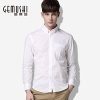 big and tall dress shirts - New autumn men long sleeve white shirt solid color business casual shirts fashion big and tall clothes size M XL