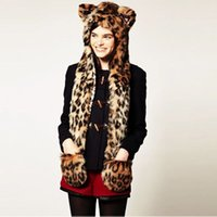 Cheap Wholesale-Faux Fur Winter Hats for Women Ear Flaps Hand Pockets Russian Hat Wolf Furry Plush Leopard Warm Animal Cap with Scarf Gloves