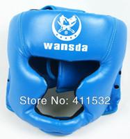 al por mayor protección de la caja negro-El envío libre ROJO / NEGRO / Azul Cerrado Tipo jefe de guardia de boxeo / Sparring casco / MMA / Muay Thai kickboxing corsé / Protección de la cabeza HE-29