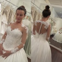 Wholesale 2016 Sheer Long Sleeves Ball Gown Wedding Dresses Lace Appliques Illusion Buttons Back Ivory Princess Puffy Bridal Gowns Aso Ebi Style