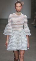 bell cutout - Cutout Women Ball Gown Dress Flare Sleeve Cat Walk Dresses