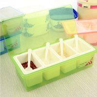 Wholesale Seasoning box new fashion minimalist style kitchen flip fourfold Detachable spoon seasoning box with factory direct