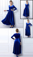 bell clothing line - Autumn plus size clothing fashion velvet v neck grew up wave floor length gold velvet dress dress