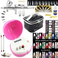 Atacado-OPHIR 0,3 milímetros Airbrush Kit Mini Compressor de ar para Maquiagem Nail Art 20XStencil Bag Escova de limpeza Set para