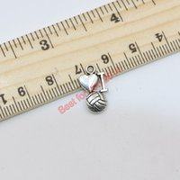 Wholesale 200Pcs Tibetan Silver Plated I Love Volleyball Charms Pendants for Jewelry Making Craft DIY Handmade Floating Charms x9mm