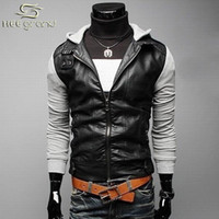 Wholesale Fall Hot Selling Men s Fashion Jacket With Knit Sleeve Fashion Comfortable Leather Of Spring Autumn Winter MWP009