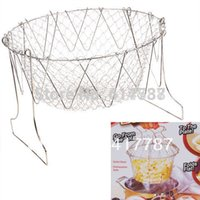 Wholesale Versatile and Foldable Stainless Steel Basket for Frying Steaming Washing Boiling All in One Cooking Tool Silvery