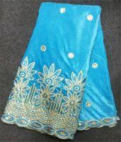 Precio de Cielo azul de la tela de lentejuelas-Cielo populares tela azul bordado de la pana suave encaje de terciopelo africana con bonitas lentejuelas para vestido de fiesta 5V15-BE (5yards / pc)