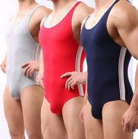 Wholesale Sexy Leotard Men - Wholesale-Modal New Mens Brand Sports Leotard Fitness Sexy mens underwear jumpsuits 3 colors for choose Wh10