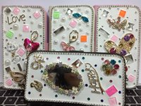 Wholesale Cell Phone Case For Galaxy Samsung S5 Bling Rhinestone Flip Pu Leather Cover Pearl Design Cell Phone Accessories