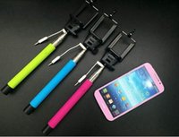 Wholesale Monopod Extendable Self Portrait Remote Selfie Handheld Holder Stick with Audio cable Take Pole wired for SmrtPhone iPhone SamSung Nexus HTC
