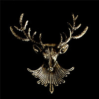 Wholesale Newest Animal Christmas Gold Plated Deer Antlers Head Pin Brooches Fashion Jewelry