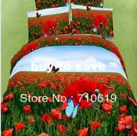 Cheap RED flower wedding 4pcs bedding set 3d luxury bed linen oil painting Duvet comforter quilt cover bedspread bed sheet sets