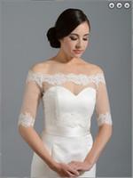 Wholesale 2015 Exquisite Shinning Bridal Wraps Applique Shawl Sheer Bateau Long Sleeves White Wedding Jacket